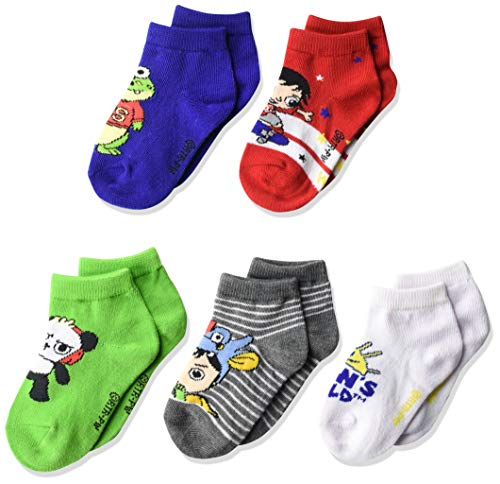 High Point Ryan's World - Calcetines cortos para niño (5 unidades), Multicolor brillante, Fits Sock Size 5-6.5; Fits Shoe Size 4-7.5