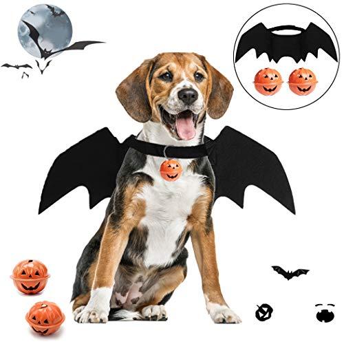 Joyibay Halloween Hund Kostüm, Haustier Fledermaus Kostüm Niedlich Halloween Kostüm für Haustiere mit 2 Glocken Cosplay-Kostüm für Mittleren Hund für Partys