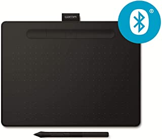 Wacom Intuos M - Tableta Gráfica Bluetooth, Tableta Gráfica Inalámbrica para pintar, dibujar y editar photos con 3 softwares creativos incluydos para descargar, compatible con Windows & Mac,  Negra