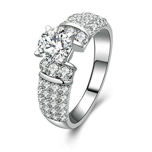 Daesar Silberring Damen Ring Silber Ehering für Damen Benutzerdefinierte Ring 4-Prong 1 Zirkonia Ring Größe:54 (17.2)