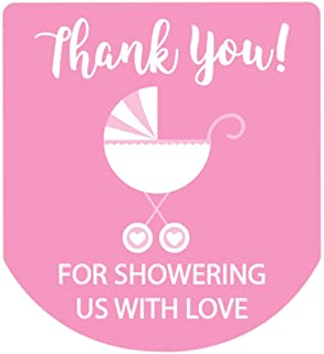 90 Hand Sanitizer Labels Thank You Stickers Girl Baby Shower Favors (Pink)