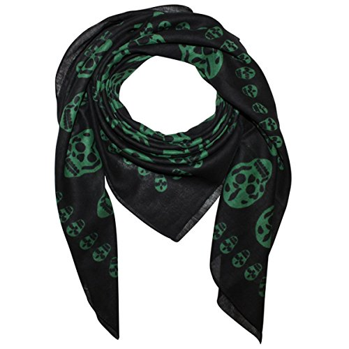 Superfreak® Baumwolltuch mit Totenkopf Muster - Tuch - Schal - 100x100 cm - 100% Baumwolle - Farbe: schwarz-grün