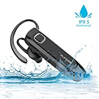 HIFEER Bluetooth Headset Waterproof IPX5 V4.1 Bluetooth Headphone with Noise Cancelling Mic- Black