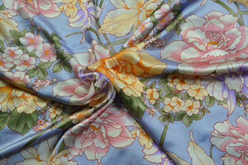 Maxfeel 100% Pure Mulberry Silk Charmuse Floral Fabric 45 Wide for Bedding Dress by The Yard or by Half Yard (Sold by Half a Yard, 04)