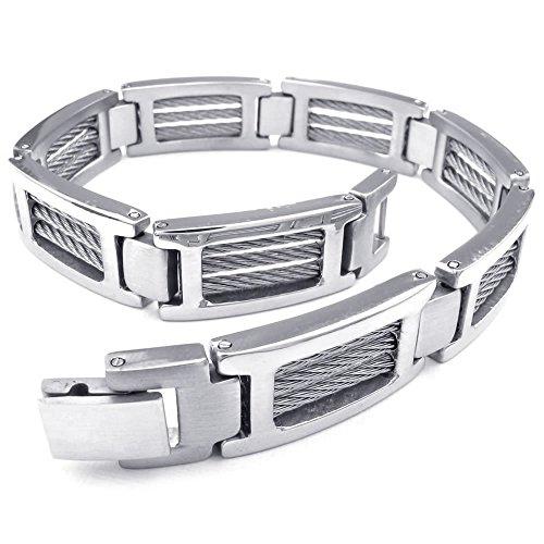 KONOV Jewellery Herren-Armband Edelstahl, Biker links Armreif, Silber (mit Geschenk Tüte)