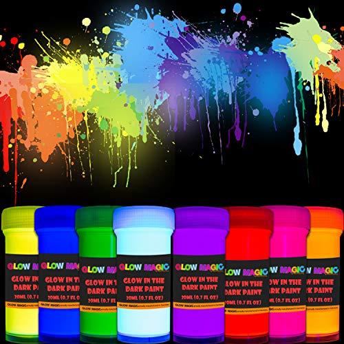 Glow in The Dark Acrylic Paint Set - Self-Luminous Phosphorescent Glowing Neon Paints - 8 x 20 ml / 0.7 fl oz