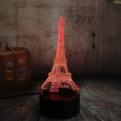 Liefdesromanze Frankrijk Parijs Eiffeltoren rgb 3d nachtlampje usb geleide kleurveranderingsliefhebbers van de tafellamplamp lamp 7 lieve vriendin geschenk