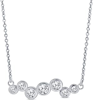 La Joya Round White Simulated CZ Diamond Sterling Silver Star Moon Chevron Heart Pendant Necklace
