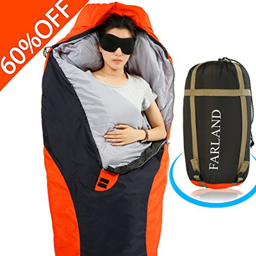 FARLAND Lightweight Sleeping Bag& Portable Waterproof Mummy Bag With Compression Sack -Perfect for Summer Traveling, Camping, Hiking,Outdoor Activities(Dark Grey & Red / Left Zip)