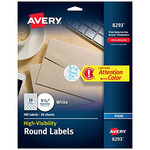 "Avery White Round Labels with Sure Feed, 1.5"" Diameter, 400 Labels -- Make Custom Stickers (8293)"