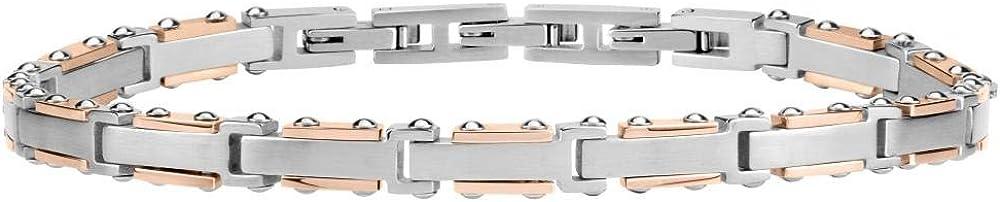 Morellato, bracciale da uomo, collezione urban, in acciaio, pvd oro rosa e zirconi SABH12