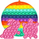didaINT Big Size Push Pop Bubble Sensory Toy Pack 200mm 70 pops, Rainbow Color Round Pink Bunny and Pink Tortoise Toy Special for Child and Adult Play Together