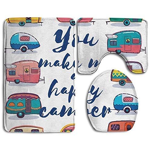 cwb2jcwb2jcwb2j Camper You Make Me Happy Camper Motivational Quote met Caravans Retro Stijl Reizen Grafische Badkamer Tapijt 3 Stuks Badmat Set Contour Tapijt en Deksel Cover