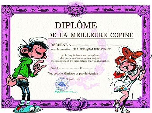 Gaston Lagaffe dubbele kaart met envelop Diplom van de beste vriendin, vriendschap Mlle Mademoiselle Jeans, mooie jurk voor meisjes en dames