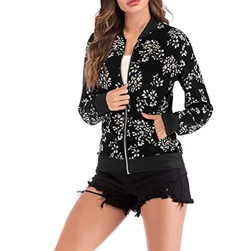Morbuy Kurzer Damen Mantel, Damen Frühling Mode Floral Baseball Mantel Tops Bomberjacke Reißverschluss Kurzjacke (S, Schwarze Blumen)