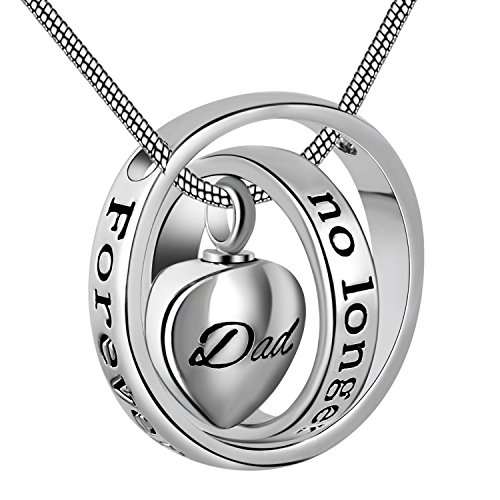 Cring Coco Womens&Mens No longer by my side,forever in my heart carved locket cremation Urn necklace for mom & dad (Dad)
