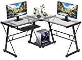 Computer Desk Gaming Desk L Shaped Corner Desk Home Office Writing Workstation Toughened Glass Study Keyboard CPU Stand PC Modern Table for Small Spaces (Clear)
