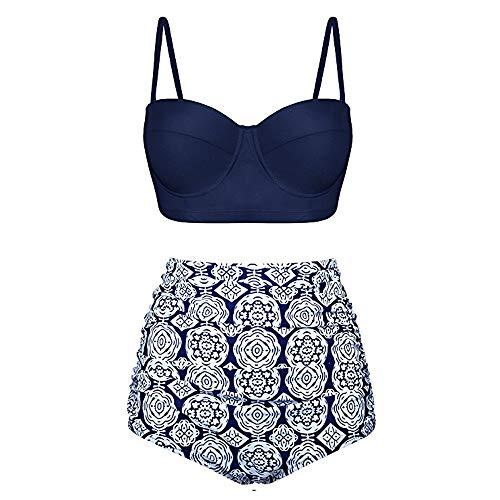 Dorical Bikini Set Damen, Frauen High Waist Bademode Zweiteilige Strandkleidung Badeanzug mit Nationaler Stil Drucken Bikini Oberteil und Bikinihose Sale(Marine,Medium)