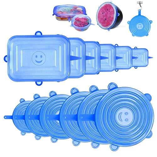 StillCool Tapas de Silicona Reutilizable, 12PZS Tapas Elásticas Sin BPA Redondas y Rectángulo con Buen Sellado para Alimentos Tazas Boles y Tarros en Lavavajillas Microondas y Refrigerador - Azul