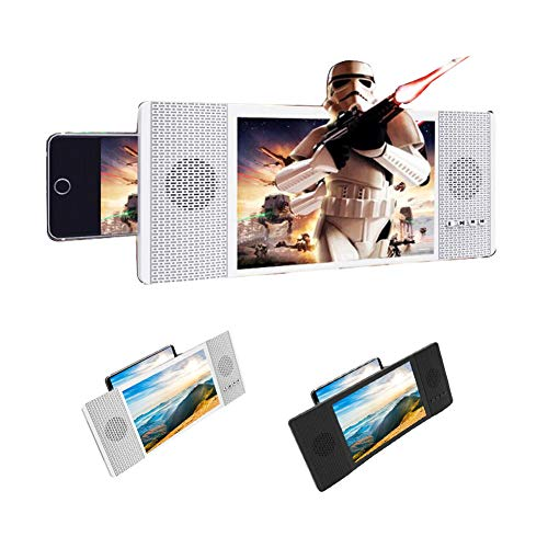 XYHWZY 5D Mobile Phone Screen Magnifier with Bluetooth Speaker Stereoscopic Projection Amplifying 8 Inch Desktop Phone Holder HD Movie Video Stand for All Smartphone