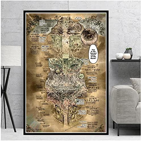 Made In Abyss Map Carteles e impresiones de películas Imágenes de pared para sala de estar Pintura de lienzo vintage Arte Decoración decorativa para el hogar -50x70cmx1pcs -Sin marco