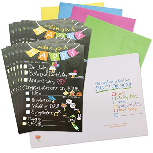 Greeting Cards for All Occasions | 48-piece Boxed Card Set Includes Greeting Cards, Gift Tags & Gift Stickers (Checkbox Card-for-All-Occasions)