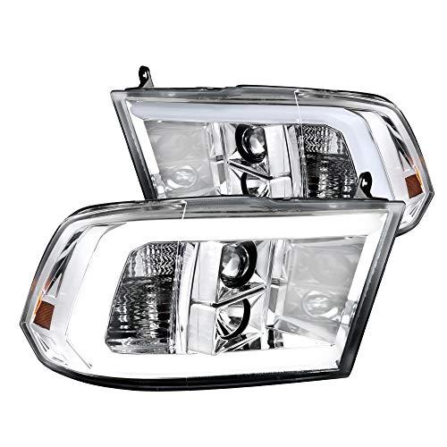 Spec-D Tuning LED Light Bar Chrome Housing Clear Lens Projector Headlights for 2009-2018 Dodge Ram Head Light Assembly Left + Right Pair