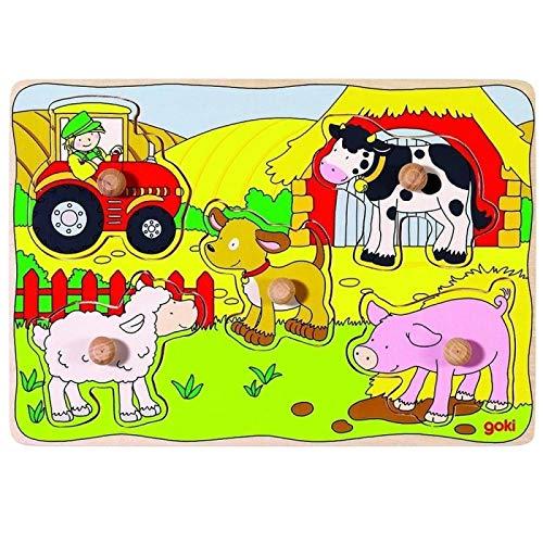 Puzzle en bois 5 pièces a boutons La ferme Puzzle bébé à encastrement premier âge Enfant 1 an