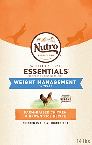 NUTRO WHOLESOME ESSENTIALS Adult Weight Management Natural Dry Cat Food for Weight Control Farm-Raised Chicken & Brown Rice Recipe, 14 lb. Bag
