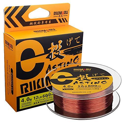 RIKIMARU Monofilament Fishing Line (Wine Red, 3LB-660Yds)