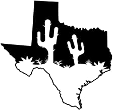 ND427 Texas With Cactus Decal Sticker | 5.5-Inches By 5.3-Inches | Premium Quality Black Vinyl