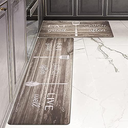 """Anti Fatigue Kitchen Mats,LEEVAN Kitchen Floor Mats Non-Skid 2 Piece 17"""" X 29""""+17"""" X 47"""" PVC Leather Comfort Heavy Duty Standing Runner Rugs Waterproof Oil Proof Washable Doormat Bathroom Carpet"""