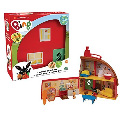 Bing - Playset La Grande Casa di Bing con 2 Personaggi, con 3 stanze e tanti accessori per arredarle, per bambini a partire dai 18 mesi, BNG36000, Giochi preziosi