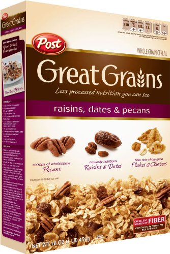 Post Selects Great Grains Raisin Date amp Pecan Cereal 16Ounce Box Pack of 7