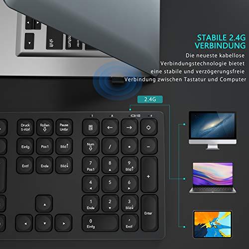 seenda 2.4 G Wiederaufladbare Leise Kabellose Tastatur mit Ziffernblock, QWERTZ Deutsches Layout Full-Size Tastatur für PC, Laptop, Android TV usw, Space Grau