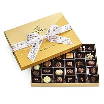 Godiva Chocolatier Assorted Chocolate Truffles Gold Gift Box Happy Birthday Ribbon 36-Pieces 14.6 Ounce
