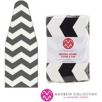 """The Macbeth Collection Ironing Pad and Cover - Frequent Use - 15"""" x 54"""" - Chevron Graphite"""