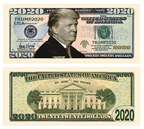 American Art Classics Donald Trump 2020 Re-Election - Pack of 10 - Presidential Dollar Bill - Limited Edition Novelty Dollar Bill. Full Color Front & Back Printing with Great Detail.