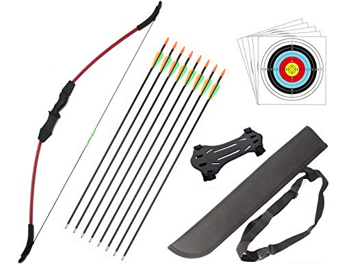 Outdoor Youth Recurve Bow and Arrow Set with Quiver Junior Archery Beginner Longbow for Training...