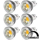 MENGS® 6 Stück Dimmbar GU10 COB LED Rampenlicht Lampe 5W Warmweiß 3000K AC 220-240V Mit Aluminium Mantel