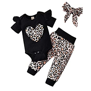 puseky Baby Girl Leopard Pattern Outfits Baby Romper Legging Pant Headband Black