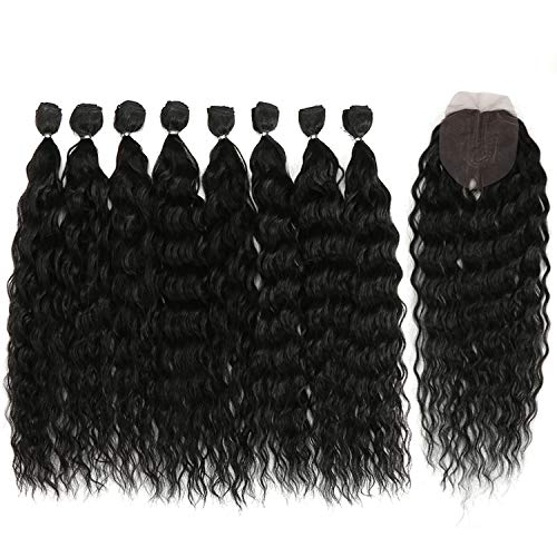 DÉBUT synthetic hair bundles with simple closure weave bundles with frontal swiss lace 9pcs Water Wave 20 inch 240g high temperature fiber