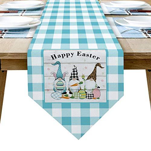 QAZQAZ Happy Easter Blue Plaid GNOME Egg Table Runner para el Comedor en casa Mesa de té Zapatero Cubierta del gabinete Bandera de la Mesa Decoración del Banquete de boda-33x229cm
