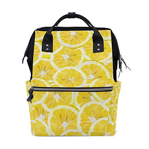 Pompelmo Frutta gialla fette di limone Borse pannolini di grande capacità Zaino mummia Funzioni multiple Borsa infermieristica Borsa Tote Borsa per bambini Cura del bambino Viaggio Quotidiano Donne
