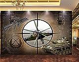 LHBHX Fototapete 3D-Foto Selbstklebend (B) 300X (H) 210 Cm Panzer Maschinengewehr Kampfflugzeug Fototapete Art Deco Wohnzimmer Schlafzimmer Home Kinderzimmer Tv-Hintergrund Dekorative...