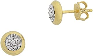 Bevilles 9ct Yellow Gold Silver Infused Crystal Stud Earrings