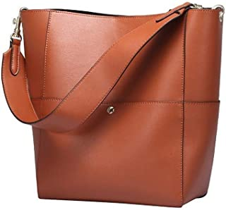 Large Handbag Lady Real Leather Bucket Handbag Female Luxury Ladies Shoulder Brown Bag (Color : Brown)