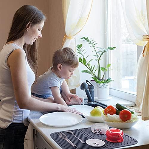 水切りマット食器乾燥用マット速乾食器収納断熱マット滑り止吊ることができ大判シリコン水切りマット(ブラック)