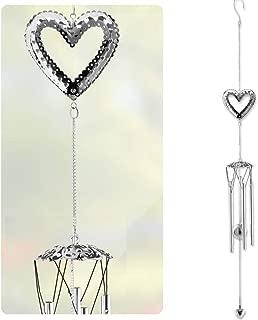 BANBERRY DESIGNS Garden Wind Chime - Silver Heart Design with Sun Catcher Metal Ball - Garden Chimes - 35