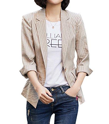 SHUIANGRAN Women's Striped 3/4 Sleeves Blazer Open Front Coat Jacket Notched Lapel Blazer Khaki US 2